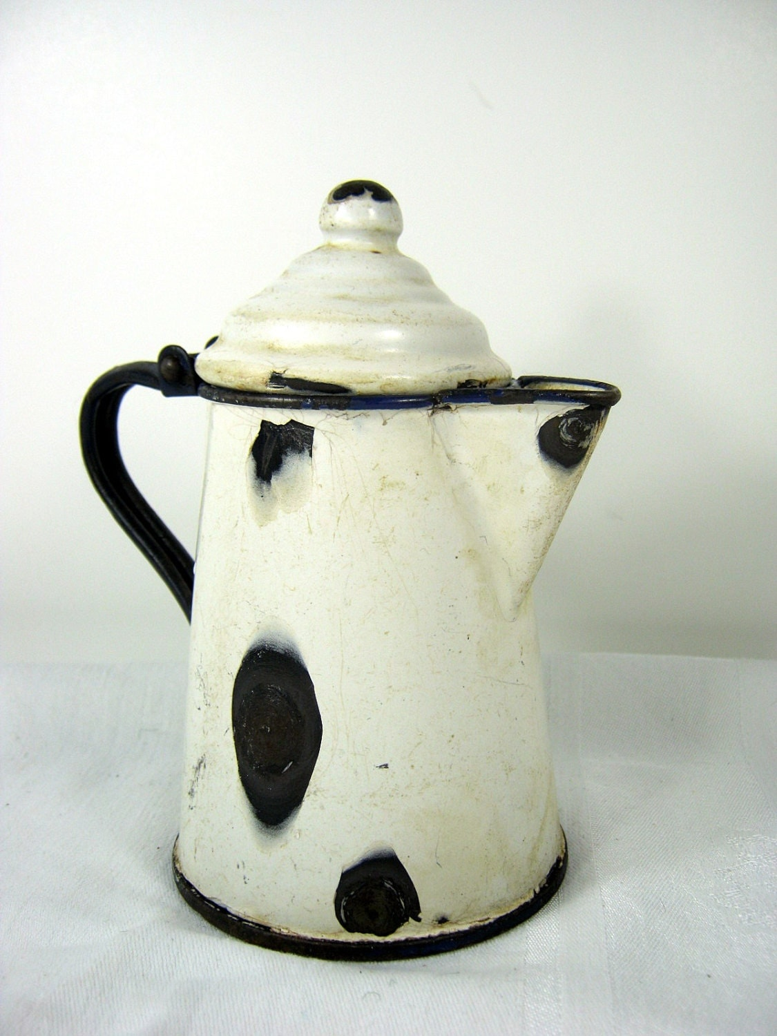 Vintage Enamelware Coffee Pot Creamy White Small Stove Top