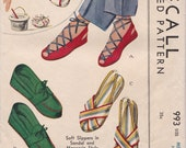 40s Slippers Sandals Moccasin Shoes Size Medium 5 - 5.5 - 6 Vintage Sewing Pattern McCall 993 Complete