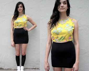 70's Yellow Floral Crop Top