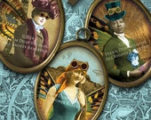 Steampunk Fairy Women - Paris Expo, Airships, Hot Air Balloons - 30x40mm Oval Images - Digital Collage Sheet, Digital Downloads, Printables