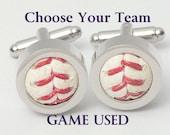 Game Used Baseball Cufflinks - Choose your favorite team! NL