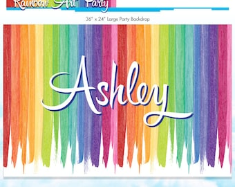 Rainbow Art Party Backdrop - Rainbow Party - Melted Crayon Art Large Party Sign - DIY Printable Birthday Sign - Made to Order