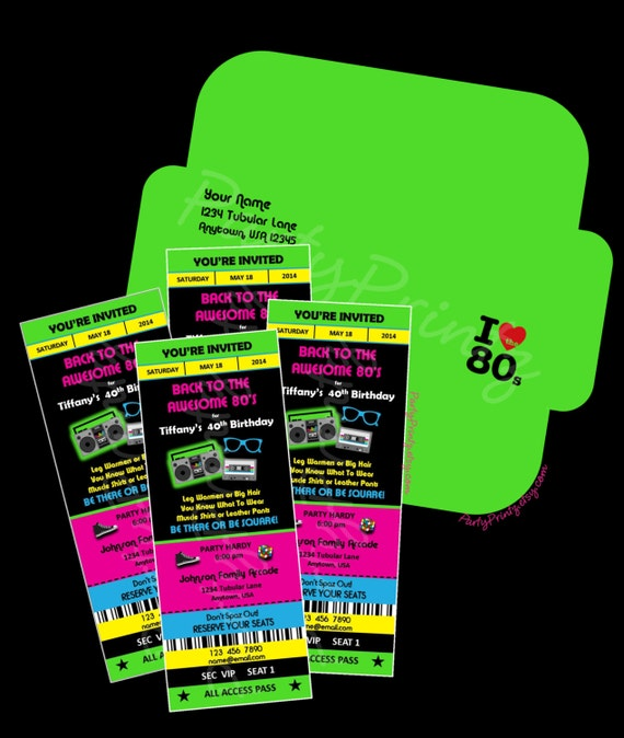 Printable - 80's Party  -  Ticket Invitations & Envelope Custom Personalized