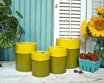 Vintage Kitchen Tin Canister Set Nesting Tins Green and Yellow Retro Farm - Set of 4