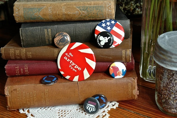 Vintage Assorted Pin Back Buttons - Lot of 8 Pinback