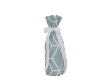 Wine Bottle Gift Bags - Blue & White Graphic Diamond Bottle Bag