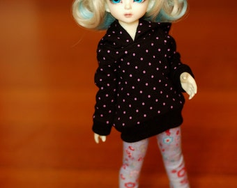 YoSD Black And Pink Polka Dot Hoodie For BJD