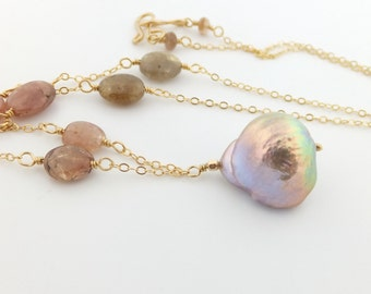 Simply Adorned: Flameball pearl necklace, pink green sapphire, fireball freshwater, handcrafted, gold