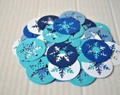 Winter Snowflake Silhouette Die Cuts Scrapbook embellishment Confetti Set of 50. Party decor Solid colors Card stock punches