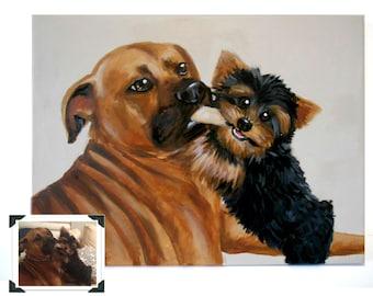 "14x18"" Custom Dog Portrait / Custom Pet Portrait - 2 Pets - Solid Background Original Acrylic Painting on Stretched Canvas Yorkie"