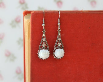 White Rose Earrings, Bridal Jewelry, Wedding Jewelry, Bridesmaid Earrings, Rose Earrings, Filigree Jewelry, Vintage Wedding, Gifts Under 30
