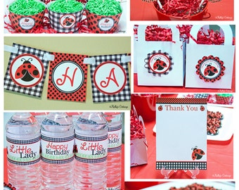 Ladybug Birthday Party Ready To Go Package, Instant Download, Printable DIY Package