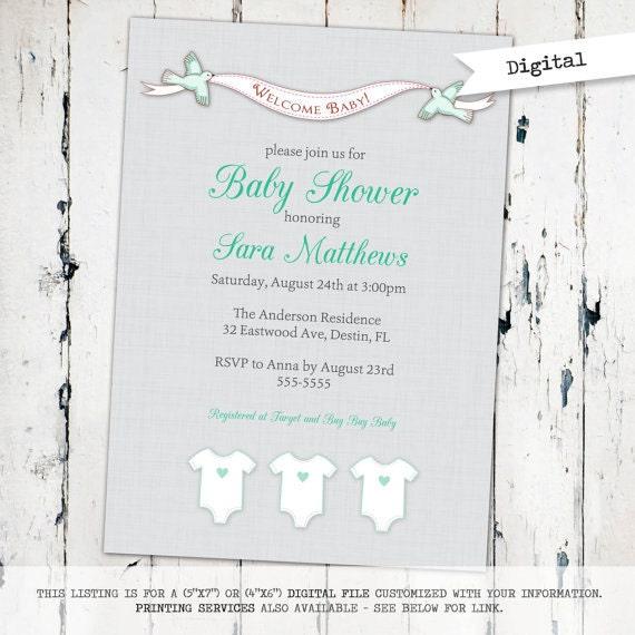 gender neutral baby shower invitation modern baby shower