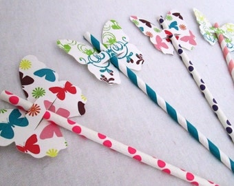 Butterfly Straw Favors and Designer Mixed Stripe and Polka Dot Paper Straws for a baby shower birthday party or bat mitzvah or any event