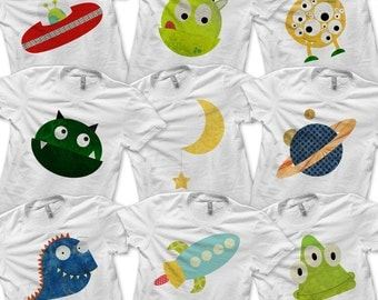 Space Bundle Pack - Iron on Monster Shirt Digital / Boys Outer Space Birthday Party / Kids Alien Shirt / Baby Monster Clothes / Printable -D