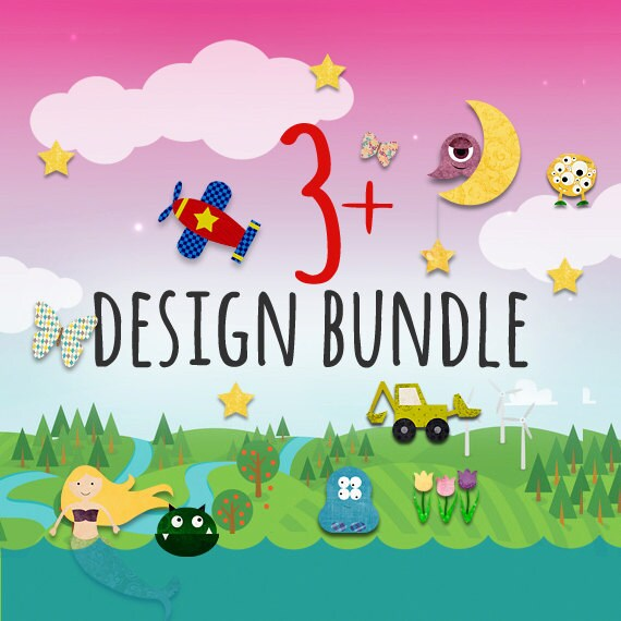 3-4 PDF Iron on Transfer / Applique Pattern Bundle  - Kids Summer Shirt / Mustache Applique / Bowling Birthday Party / Monster Quilt Pattern