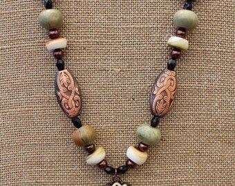 Victorian Flower Necklace with Ceramic, Shell & Copper