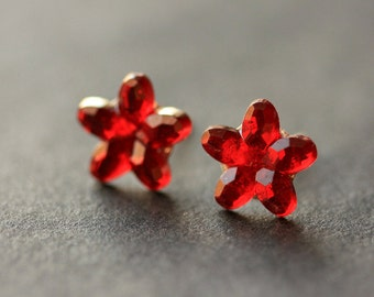 Red Sparkle Flower Earrings. Red Earrings. Silver Stud Earrings. Red Flower Earrings. Post Earrings. Handmade Earrings. Handmade Jewelry.