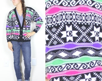 CLEARANCE Vintage Retro Bright Neon Aztec Holiday Cardigan Sweater XSmall