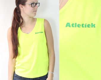 SALE Vintage Retro Neon Yellow Sport Work Out Summer Tank Top