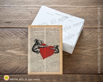 Koalas in love Postcard-Invitation card-Note card- Thank you card- Stationery card-4x6 inches - design by Natura Picta