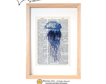 Blue jellyfish dictionary print-Coastal art print-Jellyfish on book page-beach wall art-sea life set-Upcycled Dictionary art-NATURA PICTA