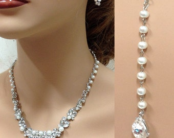 Bridal jewelry set, Bridal back drop bib necklace and earrings, vintage inspired crystal, pearl necklace statement, bridesmaid jewelry set