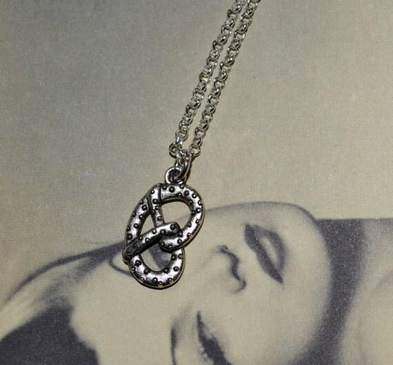 Pretzel Necklace, Silver Pretzel Charm, Baked Goods Jewelry, Food Necklace, Pretzel Pendant, Simple Necklace, Realistic Pretzel, Food Charm