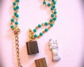 Vintage French ST CHRISTOPHER Early 1900's Pocket Shrine Necklace- He will protect you