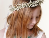 Flower Girl Crown Real Dried Babys Breath Flower Hair Wreath / Head Piece / Halo - Ages Newborn - 12 Years