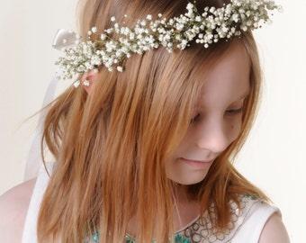 Flower Girl Crown Real Dried Babys Breath Flower Hair Wreath / Head Piece / Halo - Ages Newborn - 12 Years