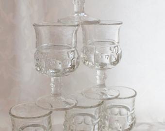 Patterned Pressed Crystal Stemware Cordial Liquor Glasses 7
