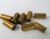 30 Vintage 7mm Brass Tube Beads Mt235