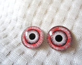 Zombie eyes 16mm glass cabochons