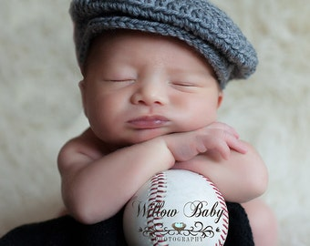 READY Baby Boy Hat - Baby Newsboy Hat - Baby Hat - Grey - Just too Cute