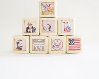 Patriotic Nursery Decor. Primitive. Flag. USA. Red, White, And Blue. 4th of July. Stars and Stripes.  wood blocks. Seasonal Decoration.