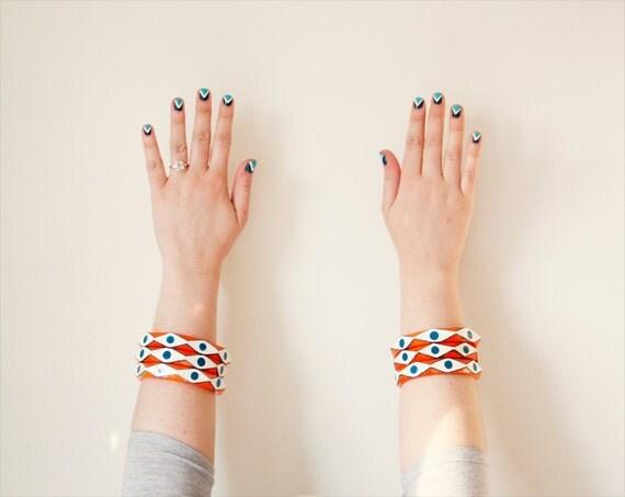 "evil eye bangle bracelet // hand painted wood // ""OJO"""
