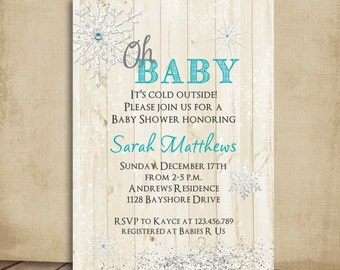 Rustic Wood Snowflake Oh Baby Winter Baby Shower Invitation Printable Design