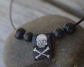 "SALE - Skull and crossbones necklace 16"" black - Leather Acai ceramic wood - Leeward black Pirate"
