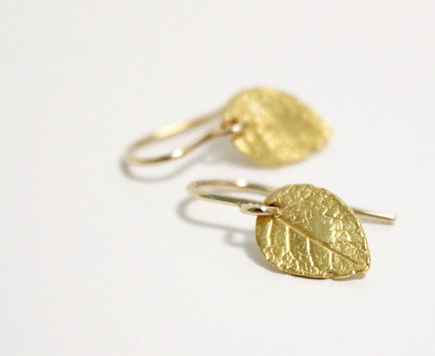 tiny gold leaf earrings dainty earrings by dreamshopdeelsie