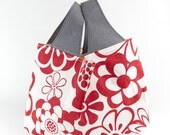 Big Tote Bag Washable Reusable Bold Floral Grocery Carrier