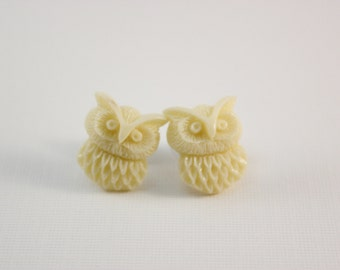 Cream owl studs - ivory owls on titanium posts - nickel free for sensitive ears