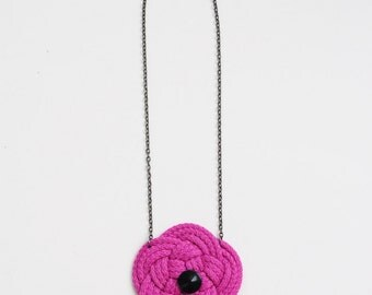 Flower necklace, knot necklace, fuchsia necklace, orchid necklace, knotted necklace, fuchsia and black, spring trends, gift for her
