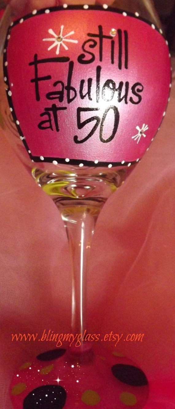 Fabulous at 50 Wine Glass(comes with free gift box) ready to ship!