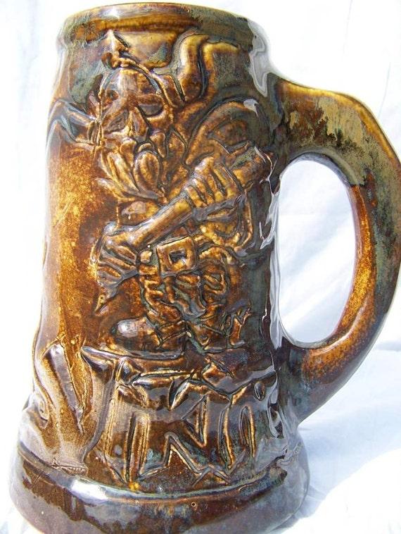 Viking stein mug tankard Norse ship viking warrior