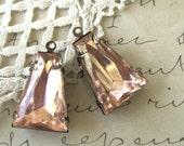 Large Rosaline Pink Glass Keystone Rhinestones in Oxidized Brass 1-Loop Settings Charms Pendants (2)