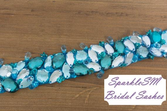 Bridal Sash, Wedding Sash, Bridal Belt, Crystal Sash, Rhinestone Sash, Jeweled Belt, Bridal Belt, Wedding Gown Belt Blue Bridal Sash - Maya