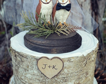Owl-wedding-cake topper-bride-groom-rustic-woodland-animal-bird-custom-Mr.and Mrs.-barn owl-owl lover-just married-snow owl-hoot owl-western