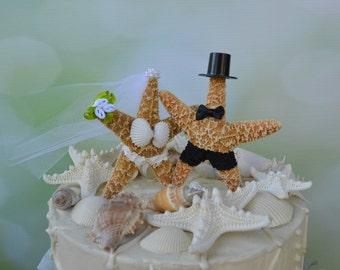 Star Fish Bride and Groom Wedding Cake Topper-Formal-Beach Themed Wedding Cake Topper