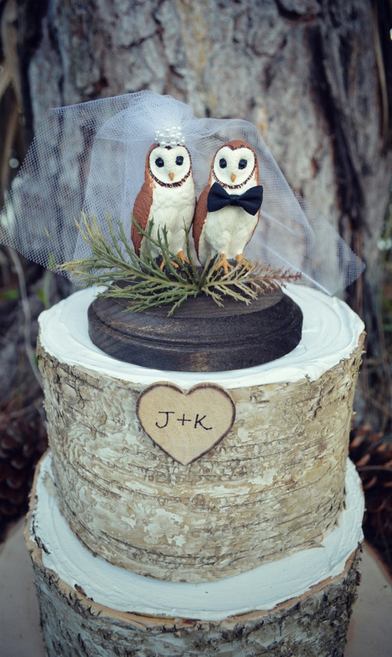 Items Similar To Owl Wedding Cake Topper Bride Groom